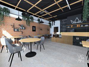 kawiarnia w stylu industrialnym